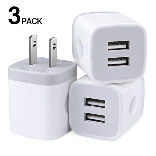 Charger Box, Wall Charger, Dual USB Phone Charger Adapter, 2.1 amp USB Plugs 3 Pack Wall Plug in Fast Charging Blocks Compatible for iPhone X S 8 7 6S Plus Samsung Galaxy A20 S8 S9 S10 e Note9 LG G3