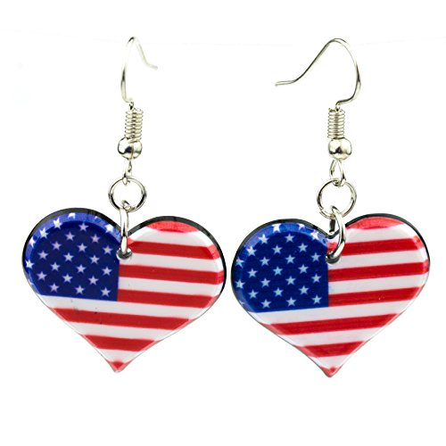 American Flag Earrings 4th of July Party Accessories Patriotic Dangle Earring Set (Heart)