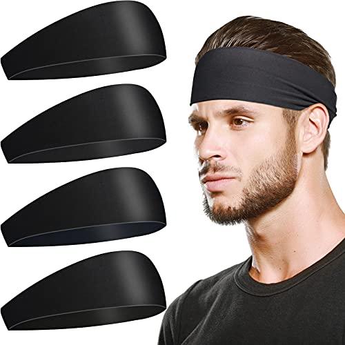 Sports Headbands for Men Sweatband - 4 Pack Sweat Band Headbands Men Head Bands Stretch for Long Hair, Workout Headband for Men Women, Yoga Running Cycling Basketball WideNonSlipCloth HeadbandsMen