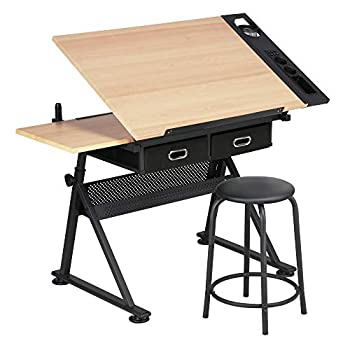 Yaheetech Height Adjustable Drafting Table Drawing Table Artist Desk Tilted Tabletop Art Craft Desk Watercolor Paintings Sketching Work Station w/2 Storage Drawers and Stool for Home Office