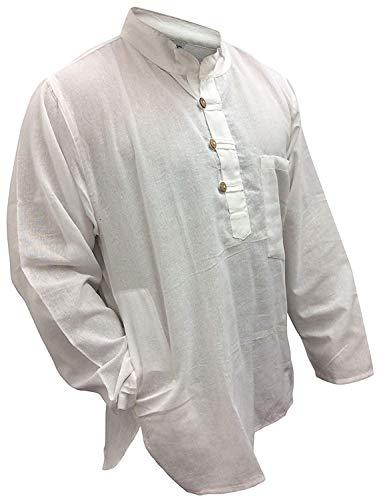 SHOPOHOLIC Fashion - Camisa para abuelo, diseño hippy Blanco blanco 3XL