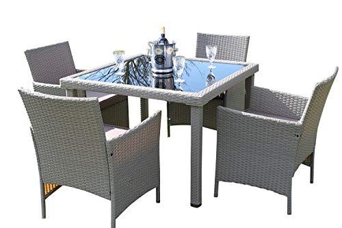 Garden Market Place Stratford Rattan-Gartenmöbel-Set mit 4 Sitzplätzen, mit Kissen, 100 X 100 X 70CM