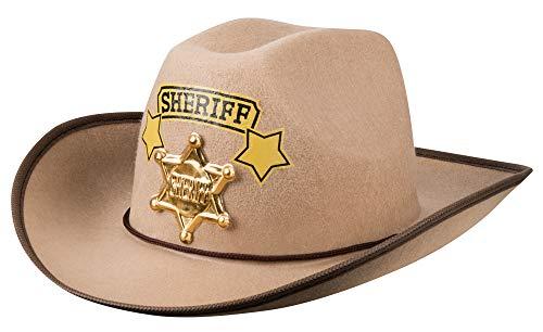 Das Kostümland Cowboyhut Sheriff für Kinder - Braun - Tolles Zubehör Kostüm Wild West Mottoparty Kindergeburtstag Spielen