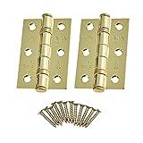 Door Hinges 3' 76mm Ball Bearing 1 Pair Pack [2 Hinges & Screws] Polished Brass