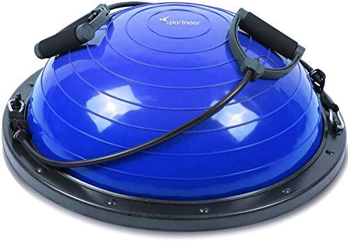Sportneer Balance Ball, Balance Board mit Widerstandsbändern, Balance Trainer Bonus-Pumpe für Yoga Fitness, Stabilitäts-Training, Krafttraining, Physiotherapie & Fitness-Studio (Blau)
