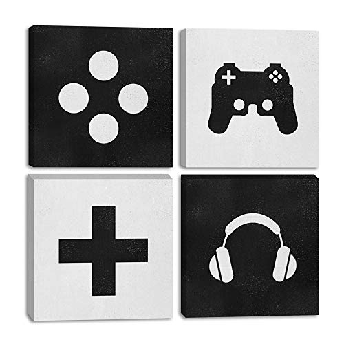 "Urttiiyy Video Game Themed Art Game Posters Gaming Wall Art 4 Panels Gift for Gaming Lover Canvas Wall Decor for Boys Room Living Room Bedroom Framed Ready to Hang-12""x12""x4"