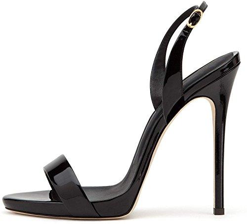 elashe- Scarpe da Donna - Sandali con Tacco Alto - 12CM Sandali- Sandali della Cintura della Caviglia Nero EU38
