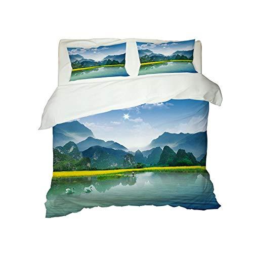 PERFECTPOT Duvet Cover Set Double Size Green Landscape Pattern 3 pcs with Zipper Closure Microfiber Bedsure Printed Duvet Cover Quilt Bedding Set with 2 Pillowcases, 200 x 200 cm