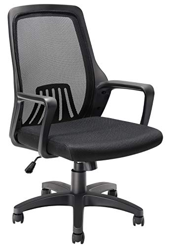 Office Chair Ergonomic Desk Task Chair with Lumbar Support, Tribesigns Mid-Back Mesh Home Office Swivel Chair Modern Chair with Wheels Armrests, Black