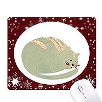 眠い猫の動物のペットの水彩画 オフィス用雪ゴムマウスパッド