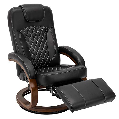 RecPro Nash 28' RV Euro Chair Recliner in Black | Modern Design | RV Furniture | Swivel Base | Recliner Chair (1 Chair)