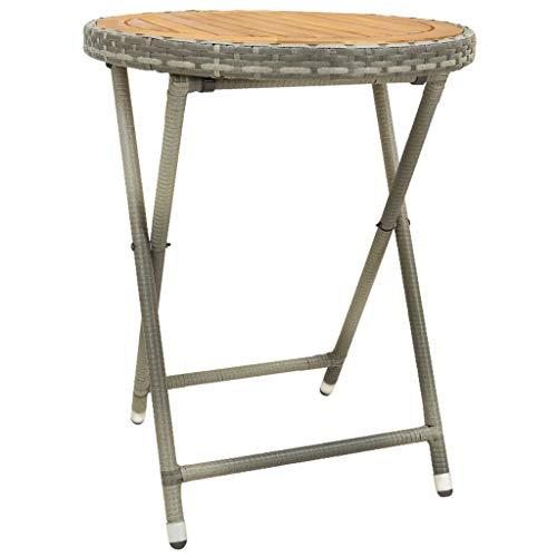 vidaXL Bois d'Acacia Solide Table à Thé Table Basse Table d'Appoint Jardin Table de Patio Terrasse Extérieur Gris 60 cm Résine Tressée