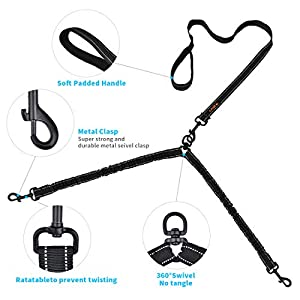 Dual Dog Leash, Double Dog Leash, Fit Small & Medium Dog 360° Swivel No Tangle Double Dog Walking & Training Leash, Comfortable Shock Absorbing Reflective Bungee with Waste Bag Dispenser & clicker