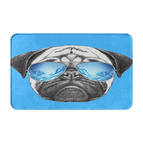 Estera de la puerta delantera,Retrato de Pug con gafas de sol de espejo Ilustración d,Alfombras para puertas de entrada y de interior con respaldo antideslizante,alfombra de baño absorbente suave