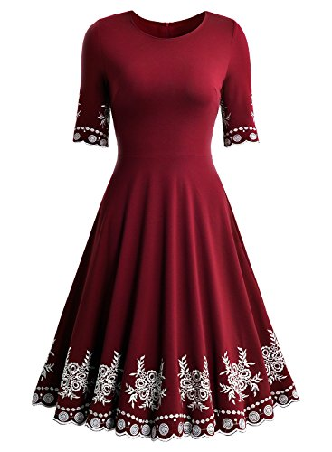 Miusol Abendkleid Sommer Kurz Vintage Rockabilly Kleid Cocktail Ballkleid - 6