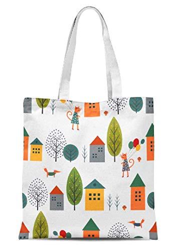 Mädchen Frauen Herbst Canvas Tote Bag Cute Häuser Katze Fuchs Herbst Mumultibags Reise