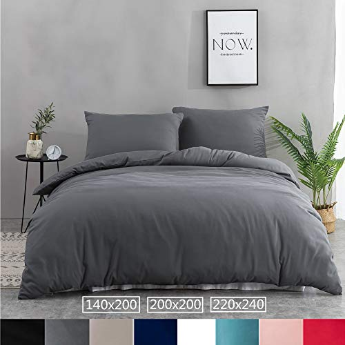 petit un compact Ensemble de housse de couette AYSW 200 × 200 cm + 2 taie d'oreiller 65 × 65 cm Ensemble de linge de lit gris 2…