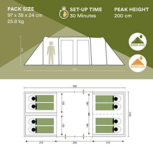 Skandika Montana 8-10 Person/Man Family Group Tunnel Tent with Sun Canopy, 200 cm Peak Height, 5000 mm Water Column, 2-4 Sleeping Cabins (Blue 8 Berth)