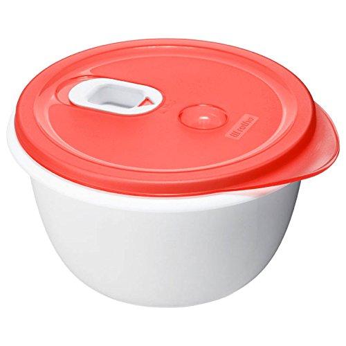 Rotho 7370100203 Mikrowellen-Speiseteller Micro Clever - Mikrowellengeschirr mit tiefem Teller und Deckel - Mit Ventil im Deckel - Mikrowellendose BPA-frei - 0.8 Liter Inhalt pro Menüteller - weiss/rot