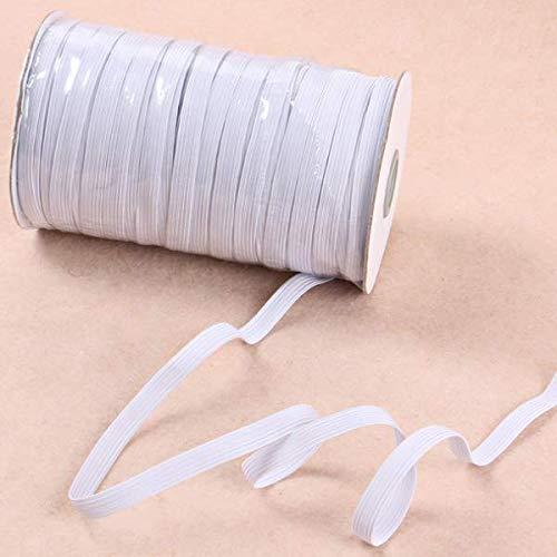 LEBEXY Elastisches Gummiband, 45 Meter Flach Elastikband Haltbar Wiederverwendbar für Hochleistungs Gummikordel zum Nähen und Handwerk (weiß, 5 mm)