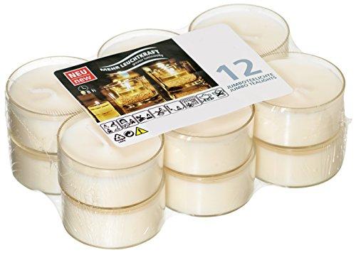 Smart Planet® Kerzen Ambiente - 12er Set Flatpack Jumbo Teelichter - Kerze Weiss in transparenter Hülle - Teelicht