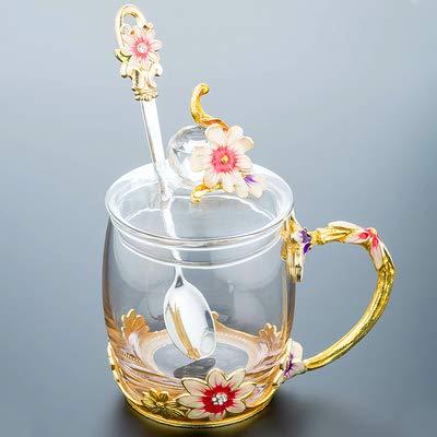 VYEKL Bunte Tasse Blume Tasse Saft Wasser mit Glas Kaffee Tasse Gänseblümchen Blume Teetasse 320ml 2 Packungen