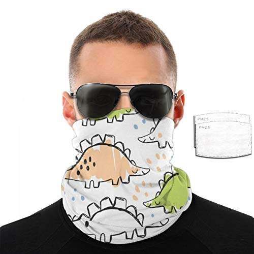 Cute Dinosaur And Doodles Seamless Pattern Bandand with 2PCS Filters Neck Gaiter Headband Gaiter Balaclava for Riding, Motorcycling, Hiking, Fishing, Yoga and Other Outdoor Activities