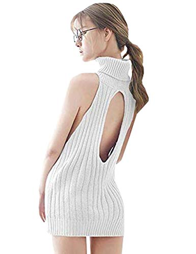 YUANMO Damen Pullover ärmellose Rückenfrei Turtleneck Open Back Sweater Backless Jumpsuit Strickpullover