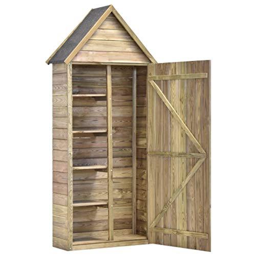 Festnight Garten-Geräteschuppen mit Tür 77x37x178 cm Kiefer Imprägniert Gartenschrank Geräteschrank Gartenhaus