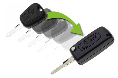 JONGO - Coque de Clé Pliable avec Lame Compatible avec Peugeot 106 (1999-2003) et 206 (Juillet 2001-2007).| Boitier Clef Plip Voiture Télécommande 2 Boutons