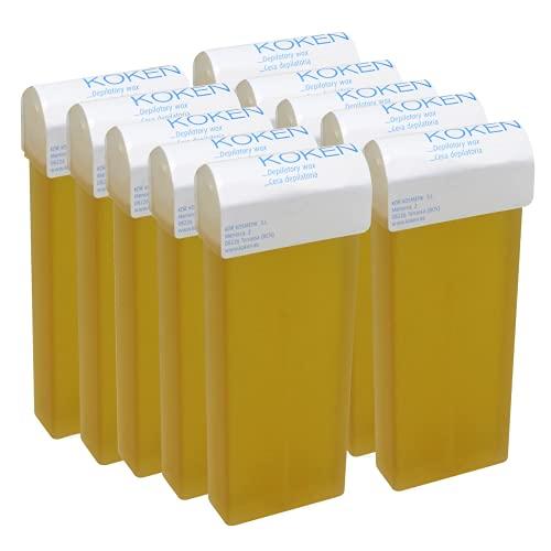 KOKEN - Cera Depilatoria Roll-on 100ml Universal - Pack 10 Cartuchos Natural (Resinas 100% Españolas)