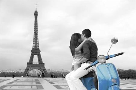 Imaginus Posters Blue Vespa Eiffel Tower Paris Travel Romantic Photography Poster 24 x 36 inches