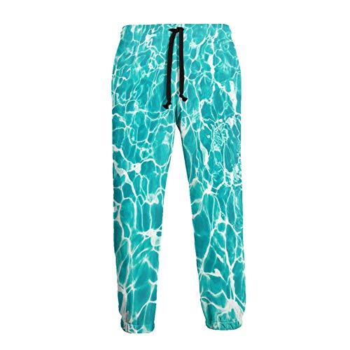 Olverz Wave Art Agua Mar Verano Fresco Patrón Hombres Pantalones Deportivos Cómodo Cool Pantalones Sueltos Cordón Pantalones