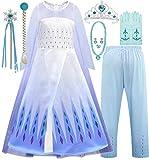 EMIN Disfraz infantil de princesa Elsa de Frozen de manga larga con pantalón y capa de tul, ideal para fiestas de cumpleaños, carnaval, Halloween, cosplay, carnaval, carnaval