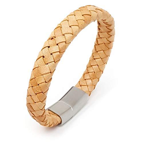 ROYALZ Vintage Leder Armband für Männer geflochten Design 4mm stark Magnet-Verschluss Armreif Herren-Leder-Armband, Farbe:Hellbraun