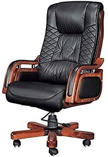 LQ Ejecutivo de reclinación Ejecutiva silla de oficina, respaldo alto acolchado de oficina silla ergonómica de alta Volver tapicería de cuero genuino con altura ajustable y reposapiés Inclinac
