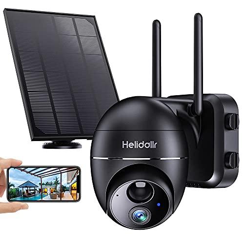 Telecamera Wi-Fi Esterno FHD 1080P, Helidallr PTZ Telecamera con Pannello Solare Batteria 15000 mAh PIR Telecamera Sensore di Movimento Audio Interattivo Visione Notturna IP66 Impermeabile IP Camera…