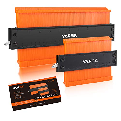 "Contour Gauge with Lock, VARSK 2 Pack Widen Shape Duplicator Profile Tool 5"" & 10"", Master Outline Measuring Plastic Ruler for Corners, Woodworking Templates, Tiles and Laminate"