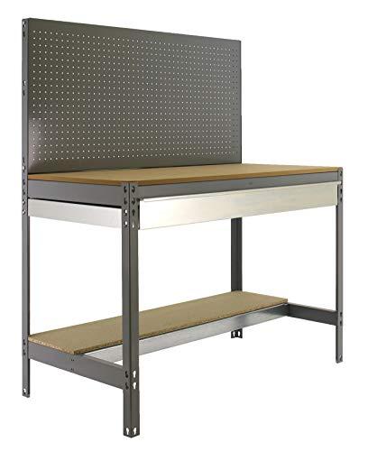 Banco de trabajo BT2 con cajón Simonwork Gris/Madera Simonrack 1445x1210x610 mms - Banco de trabajo con panel - mesa de bricolaje 600 Kgs de capacidad por estante