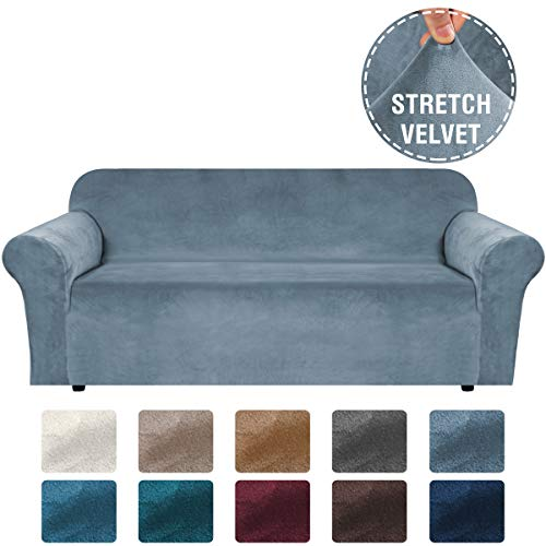 H.VERSAILTEX Stretch Velvet Sofa Covers Large Couch Covers Sofa Slipcovers with Non Slip Straps Underneath The Furniture, Feature Thick Comfy Rich Velour (Extra Wide Sofa 96'-116', Stone Blue)