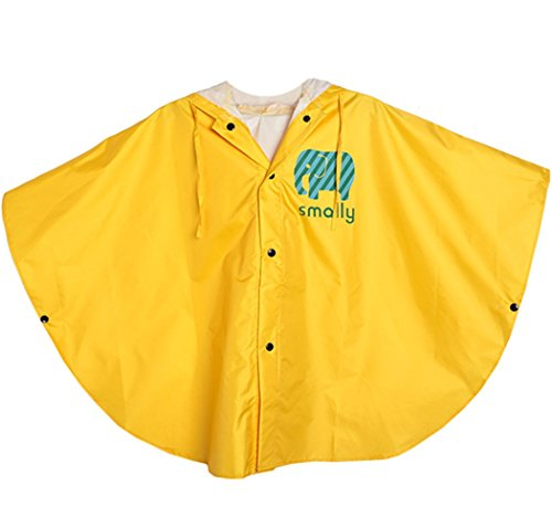 GudeHome Unisex Kid's Raincoat Girls Boys Hooded Waterproof Rain Poncho, 100-120cm Yellow