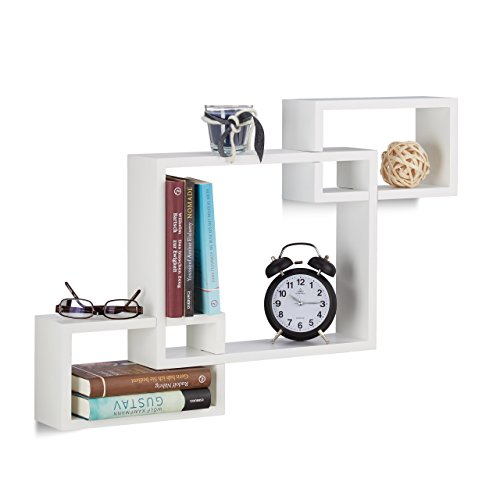 Relaxdays Wandregal Cube, Würfelregal Holz, Dekoregal hängend, zum Stecken, 3-teilig, MDF, HBT: 48...