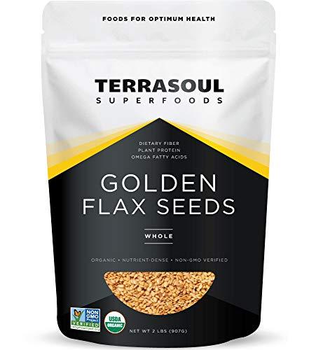 Terrasoul Superfoods Organic Golden Flax Seeds, 2 Lbs - Fiber   Protein   Omega Fats