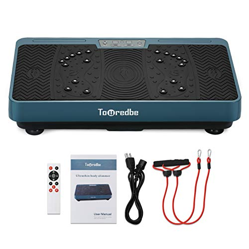 Touredbe Vibration Plate Exercise Machines for Home Fitness Training, Whole Body Workout Equipment Vibration Fitness Platform with Loop Bands Silent Motor for Weight Loss Fitness Equipment Green