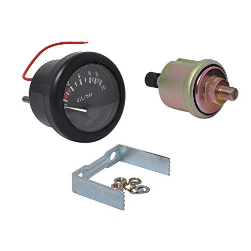 Sharplace 52mm 2' Manomètre d'Huile 0-10 Bar Jauge de Pression Avec Capteur Npt1 / 8 Pour Bateau Marine