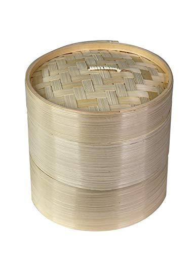 Bio-Bambus-Dampfgarer, handgefertigt, 2 Etagen, für gesundes Kochen für Dim Sum Knödel, Gemüse, Brötchen, Huhn, Fisch und Fleisch (mittelgroß D20 cm)