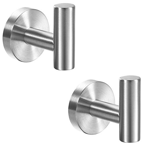 YGIVO 2 Pack Towel Hooks, Brushed Nickel SUS304 Stainless Steel Coat Robe Clothes Hook Modern Wall Hook Holder for Bathroom Kitchen Garage Hotel Wall Mounted (Brushed Nickel)