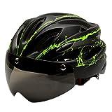 Generic サイクリングヘルメット取り外し可能バイザーゴーグルMTBロードバイクライディングセーフティヘッドガード - 黒緑, 説明したように