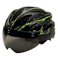 Perfeclan 取り外し可能なMaeticゴーグルバイザー付きの調整可能な大人用ヘルメットマウンテンロードバイクライディングヘッドプロテアクラッシュハット - ブラックグリーン