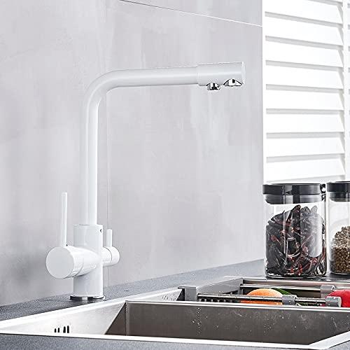 Grifo de cocina de agua pura de lujo de latón blanco y negro, agua potable fría y caliente de doble manija, grifos mezcladores de cocina con filtro de 3 vías